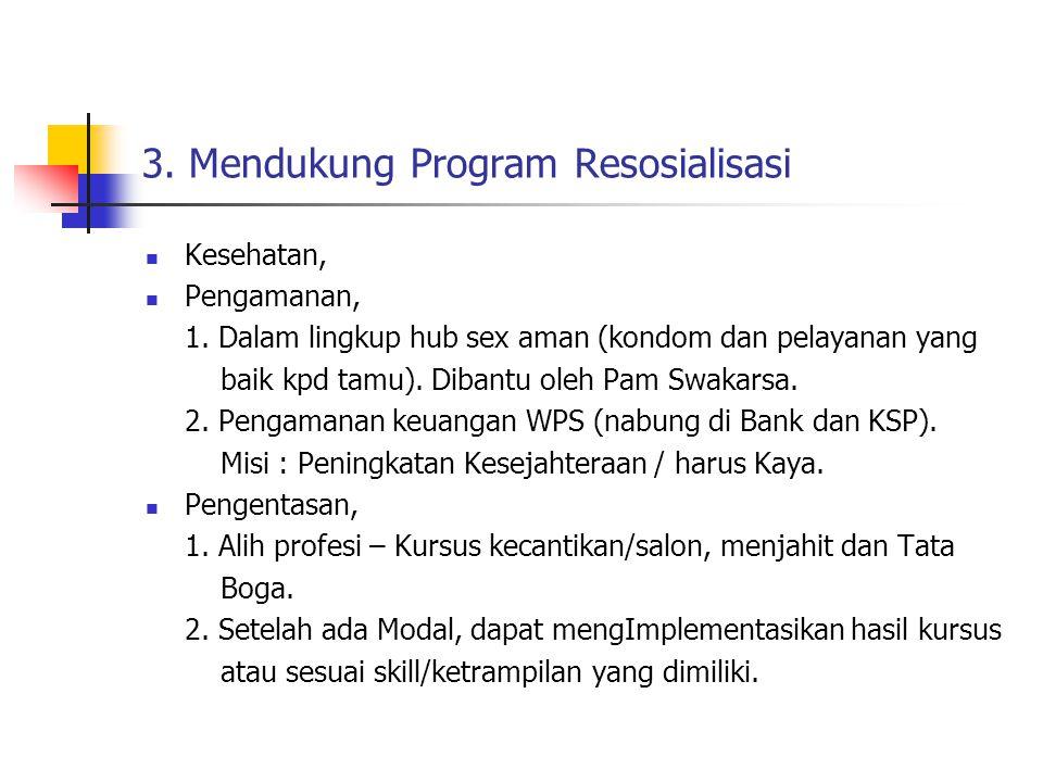 3.Mendukung Program Resosialisasi Kesehatan, Pengamanan, 1.