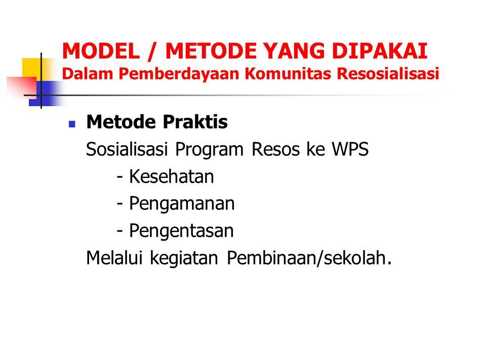 MODEL / METODE YANG DIPAKAI Dalam Pemberdayaan Komunitas Resosialisasi Metode Praktis Sosialisasi Program Resos ke WPS - Kesehatan - Pengamanan - Peng