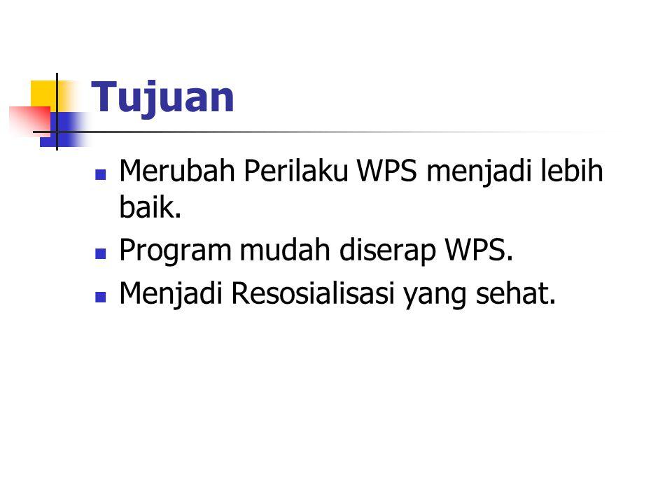 Tujuan Merubah Perilaku WPS menjadi lebih baik.Program mudah diserap WPS.