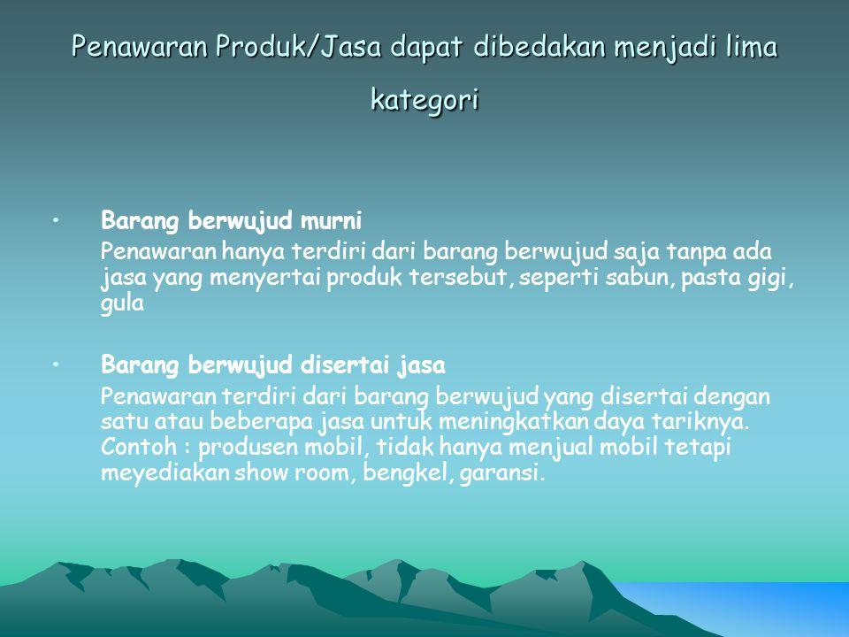 Penawaran Produk/Jasa dapat dibedakan menjadi lima kategori Campuran Penawaran terdiri dari barang dan jasa dengan proporsi yang sama.