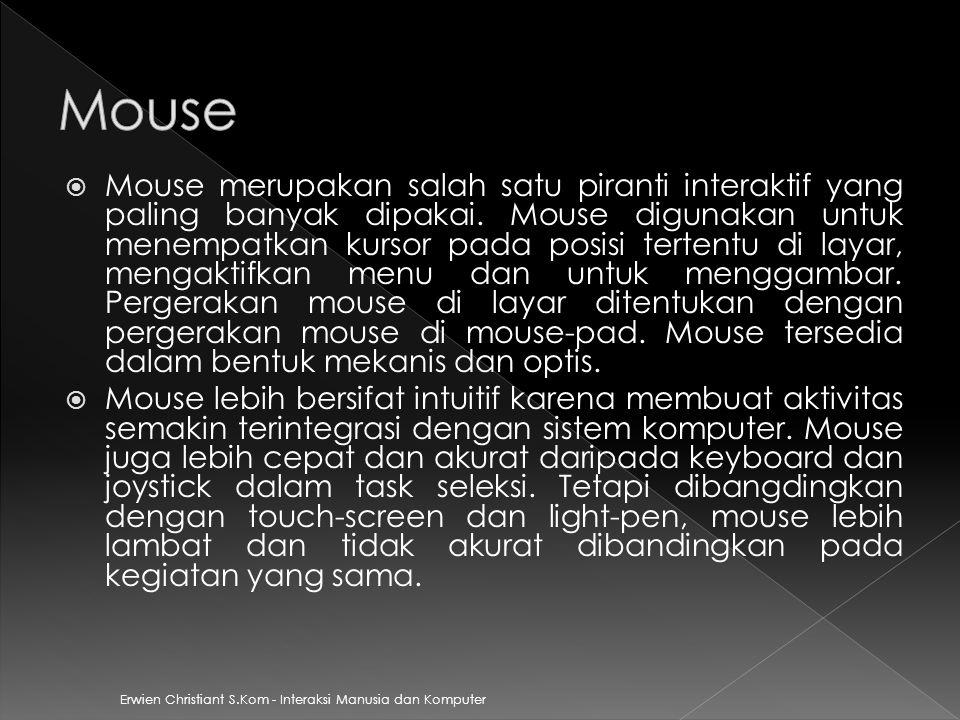  Mouse merupakan salah satu piranti interaktif yang paling banyak dipakai. Mouse digunakan untuk menempatkan kursor pada posisi tertentu di layar, me