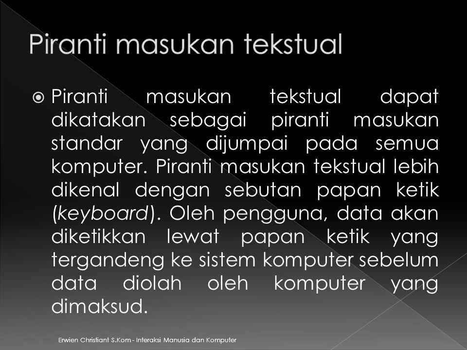 Erwien Christiant S.Kom - Interaksi Manusia dan Komputer  Piranti masukan tekstual dapat dikatakan sebagai piranti masukan standar yang dijumpai pada