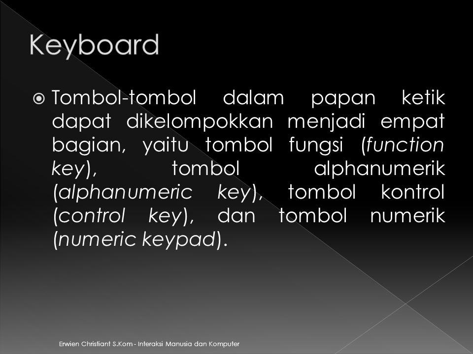 Erwien Christiant S.Kom - Interaksi Manusia dan Komputer  Tombol-tombol dalam papan ketik dapat dikelompokkan menjadi empat bagian, yaitu tombol fung
