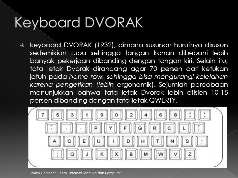  keyboard DVORAK (1932), dimana susunan hurufnya disusun sedemikian rupa sehingga tangan kanan dibebani lebih banyak pekerjaan dibanding dengan tanga