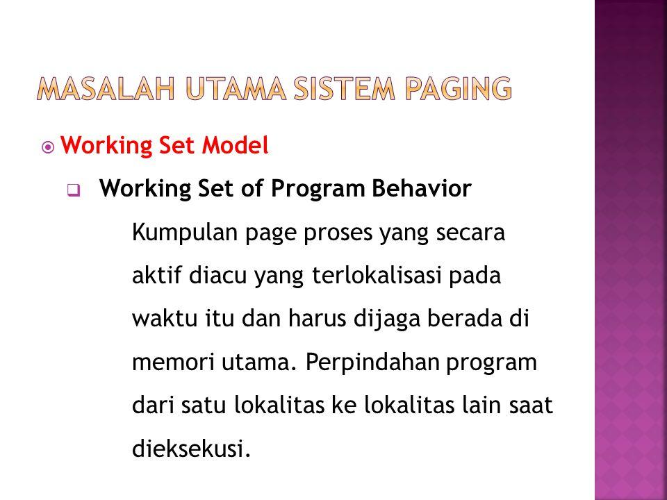 Working Set Model  Working Set of Program Behavior Kumpulan page proses yang secara aktif diacu yang terlokalisasi pada waktu itu dan harus dijaga