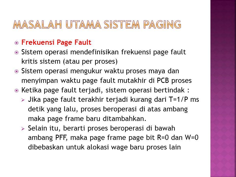  Frekuensi Page Fault  Sistem operasi mendefinisikan frekuensi page fault kritis sistem (atau per proses)  Sistem operasi mengukur waktu proses may
