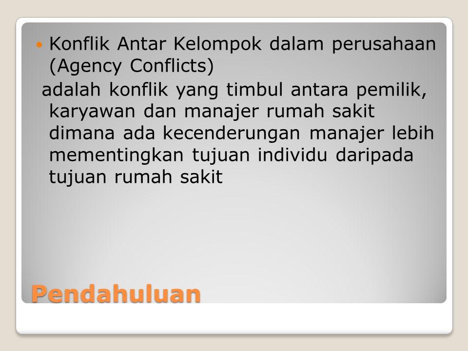 Pendahuluan Konflik Antar Kelompok dalam perusahaan (Agency Conflicts) adalah konflik yang timbul antara pemilik, karyawan dan manajer rumah sakit dim