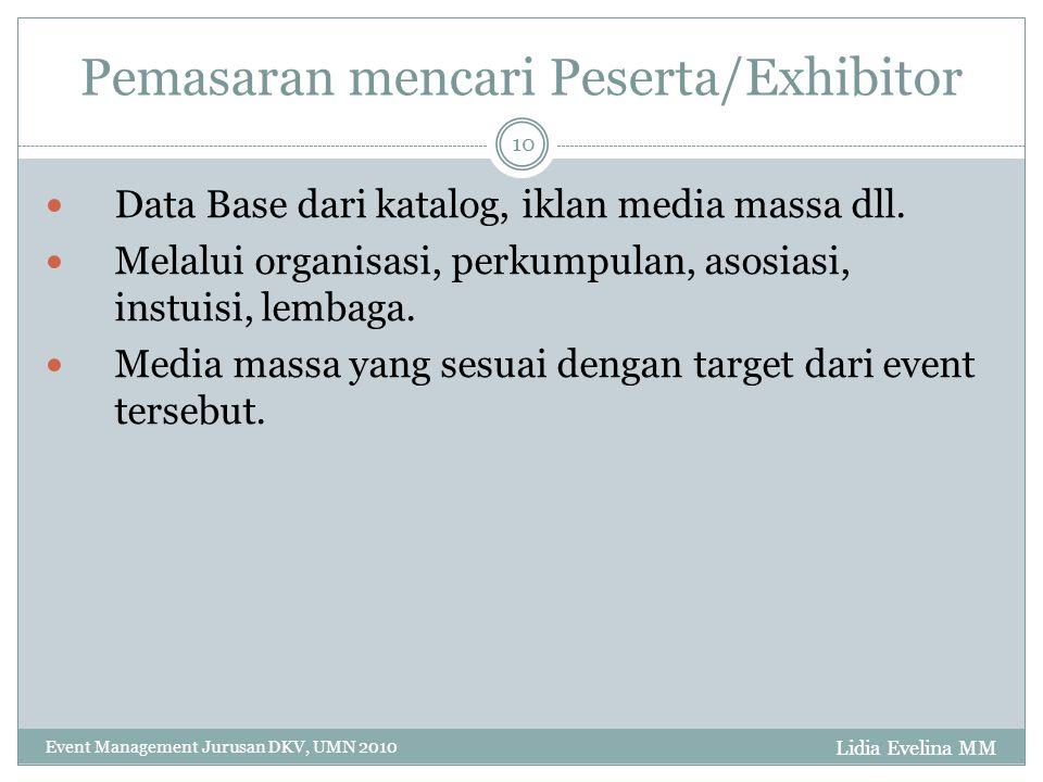 Lidia Evelina MM Event Management Jurusan DKV, UMN 2010 10 Pemasaran mencari Peserta/Exhibitor Data Base dari katalog, iklan media massa dll. Melalui