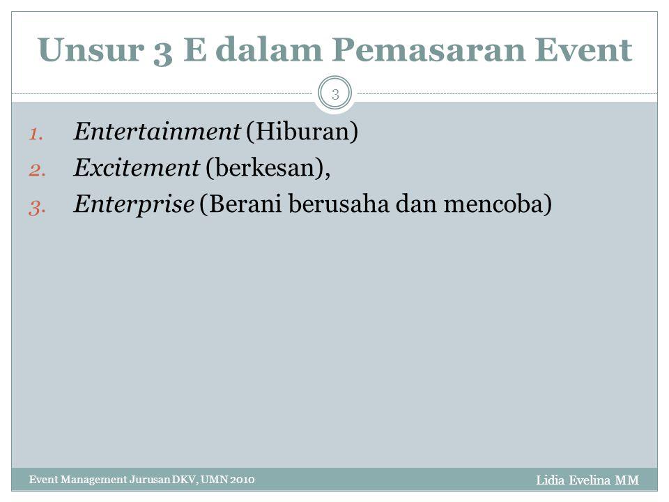 Lidia Evelina MM Event Management Jurusan DKV, UMN 2010 4 1.