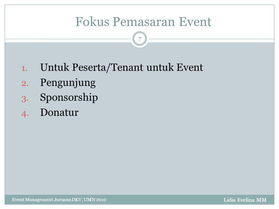 Lidia Evelina MM Event Management Jurusan DKV, UMN 2010 7 Fokus Pemasaran Event 1. Untuk Peserta/Tenant untuk Event 2. Pengunjung 3. Sponsorship 4. Do