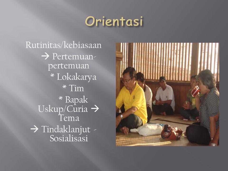 Rutinitas/kebiasaan  Pertemuan- pertemuan * Lokakarya * Tim * Bapak Uskup/Curia  Tema  Tindaklanjut - Sosialisasi
