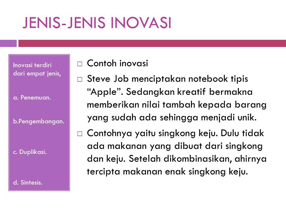JENIS-JENIS INOVASI Inovasi terdiri dari empat jenis, a.