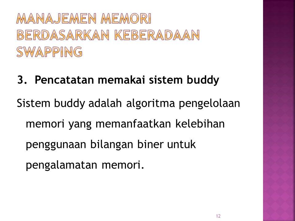 12 3. Pencatatan memakai sistem buddy Sistem buddy adalah algoritma pengelolaan memori yang memanfaatkan kelebihan penggunaan bilangan biner untuk pen