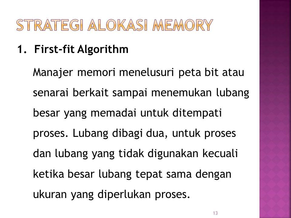 13 1. First-fit Algorithm Manajer memori menelusuri peta bit atau senarai berkait sampai menemukan lubang besar yang memadai untuk ditempati proses. L