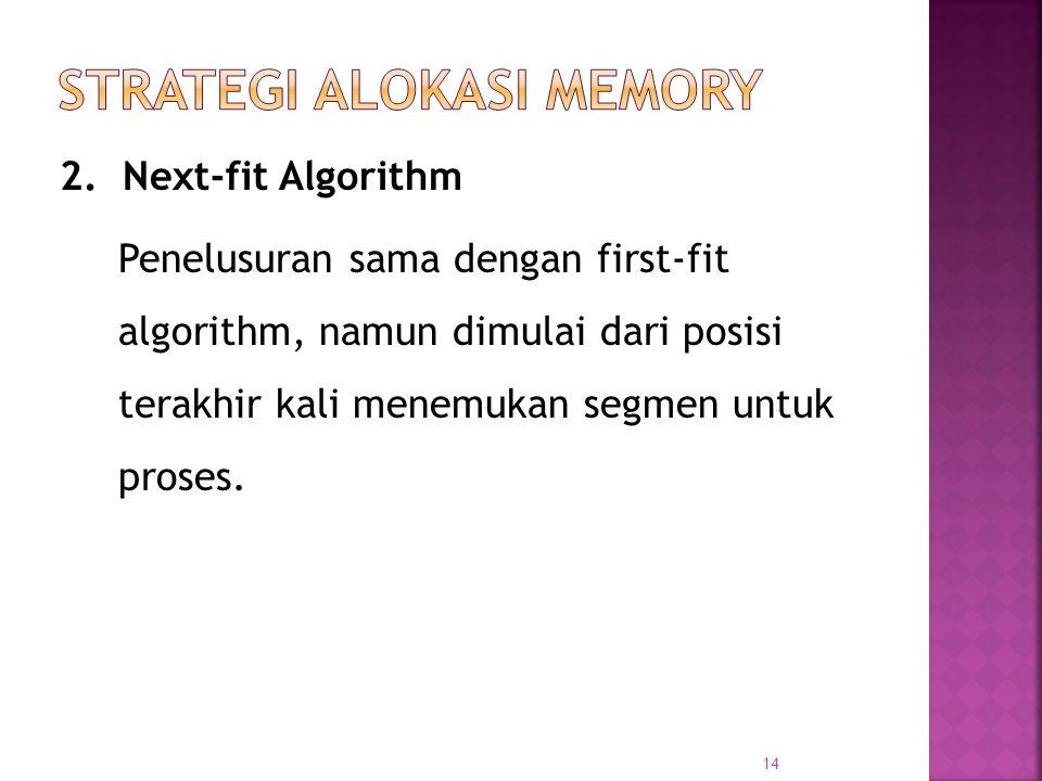 14 2. Next-fit Algorithm Penelusuran sama dengan first-fit algorithm, namun dimulai dari posisi terakhir kali menemukan segmen untuk proses.