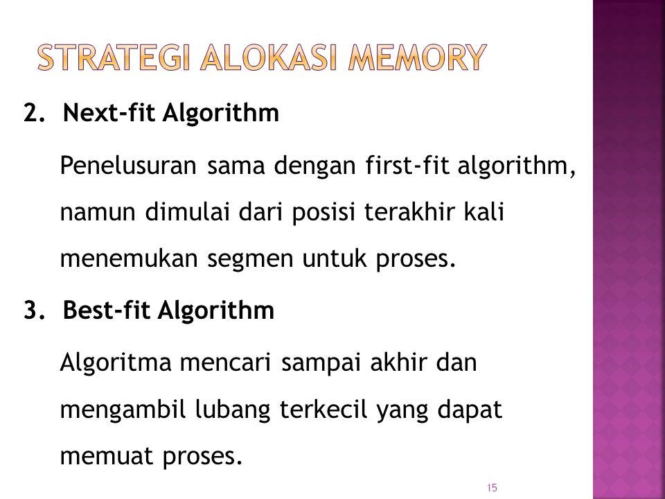 15 2. Next-fit Algorithm Penelusuran sama dengan first-fit algorithm, namun dimulai dari posisi terakhir kali menemukan segmen untuk proses. 3. Best-f