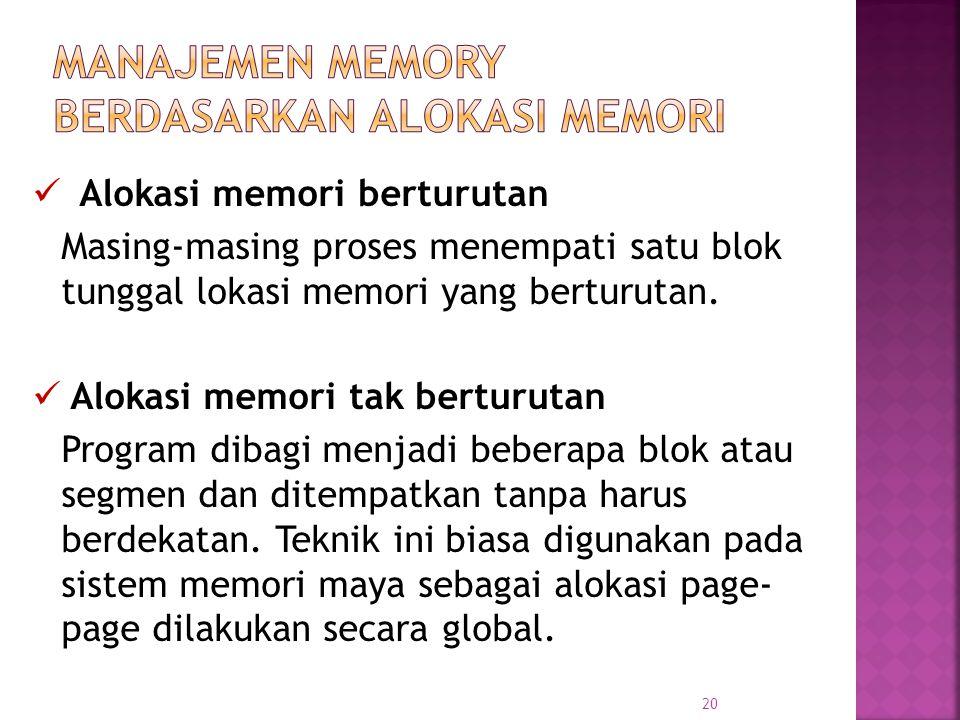 20 Alokasi memori berturutan Masing-masing proses menempati satu blok tunggal lokasi memori yang berturutan. Alokasi memori tak berturutan Program dib