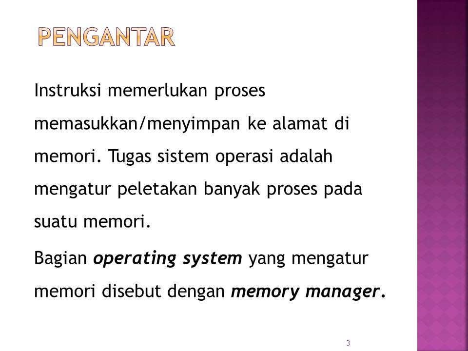 3 Instruksi memerlukan proses memasukkan/menyimpan ke alamat di memori. Tugas sistem operasi adalah mengatur peletakan banyak proses pada suatu memori