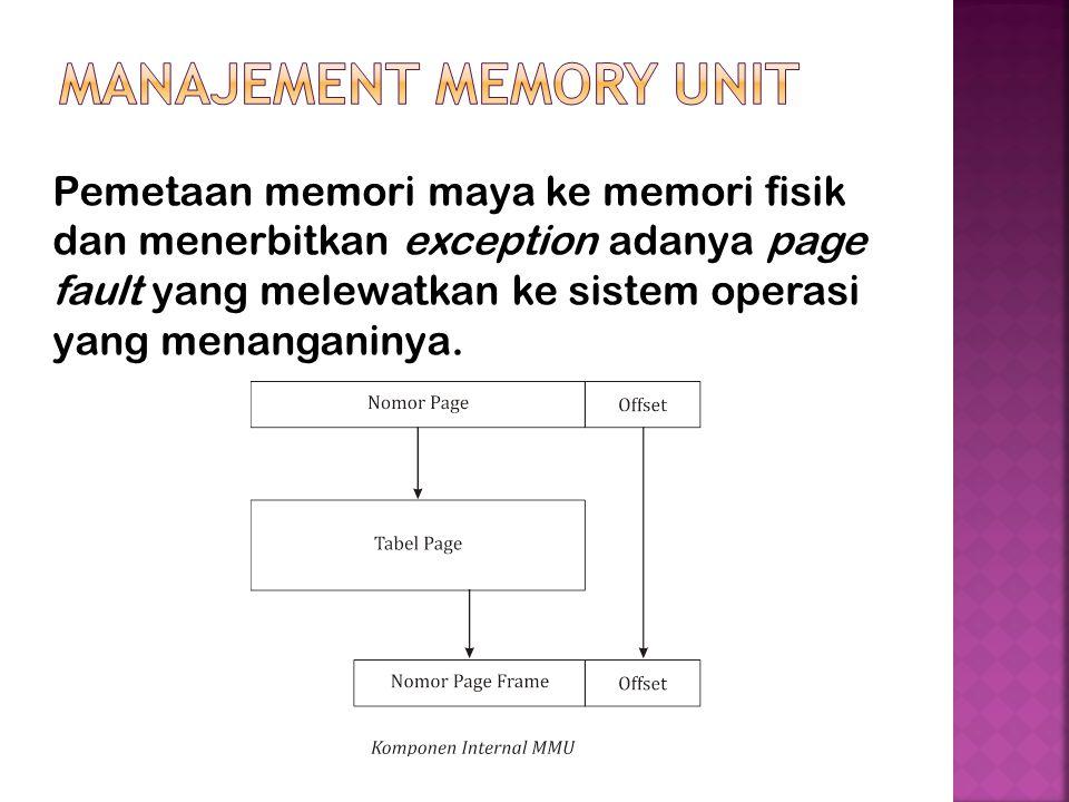 Pemetaan memori maya ke memori fisik dan menerbitkan exception adanya page fault yang melewatkan ke sistem operasi yang menanganinya.