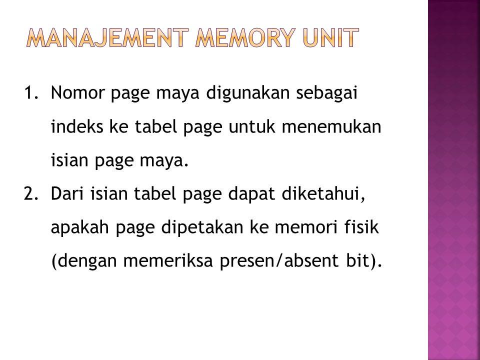 1.Nomor page maya digunakan sebagai indeks ke tabel page untuk menemukan isian page maya. 2.Dari isian tabel page dapat diketahui, apakah page dipetak