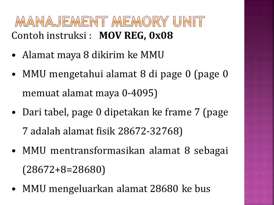 Contoh instruksi : MOV REG, 0x08 Alamat maya 8 dikirim ke MMU MMU mengetahui alamat 8 di page 0 (page 0 memuat alamat maya 0-4095) Dari tabel, page 0