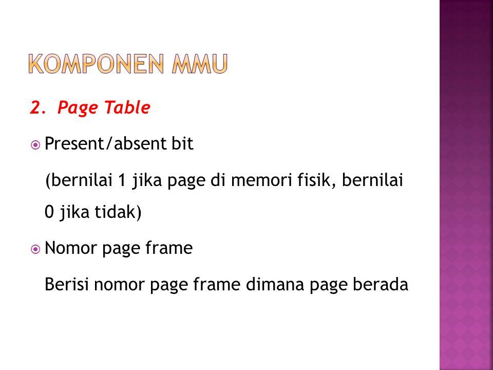 2. Page Table  Present/absent bit (bernilai 1 jika page di memori fisik, bernilai 0 jika tidak)  Nomor page frame Berisi nomor page frame dimana pag