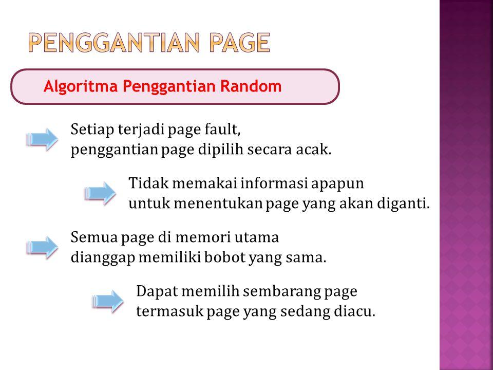 Algoritma Penggantian Random Setiap terjadi page fault, penggantian page dipilih secara acak. Tidak memakai informasi apapun untuk menentukan page yan
