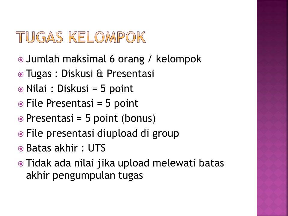  Jumlah maksimal 6 orang / kelompok  Tugas : Diskusi & Presentasi  Nilai : Diskusi = 5 point  File Presentasi = 5 point  Presentasi = 5 point (bo