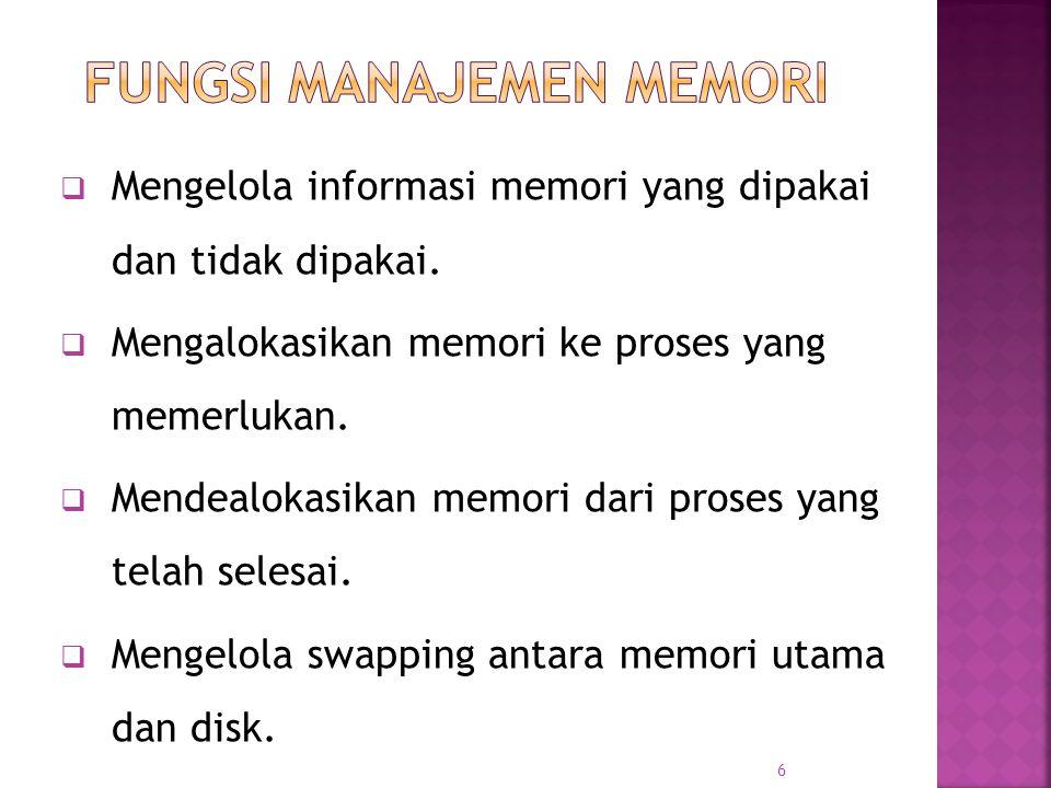 6  Mengelola informasi memori yang dipakai dan tidak dipakai.  Mengalokasikan memori ke proses yang memerlukan.  Mendealokasikan memori dari proses