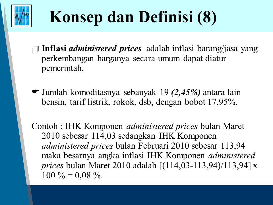 Konsep dan Definisi (8)  Inflasi administered prices adalah inflasi barang/jasa yang perkembangan harganya secara umum dapat diatur pemerintah.  Jum