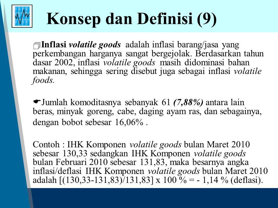 Konsep dan Definisi (9)  Inflasi volatile goods adalah inflasi barang/jasa yang perkembangan harganya sangat bergejolak. Berdasarkan tahun dasar 2002