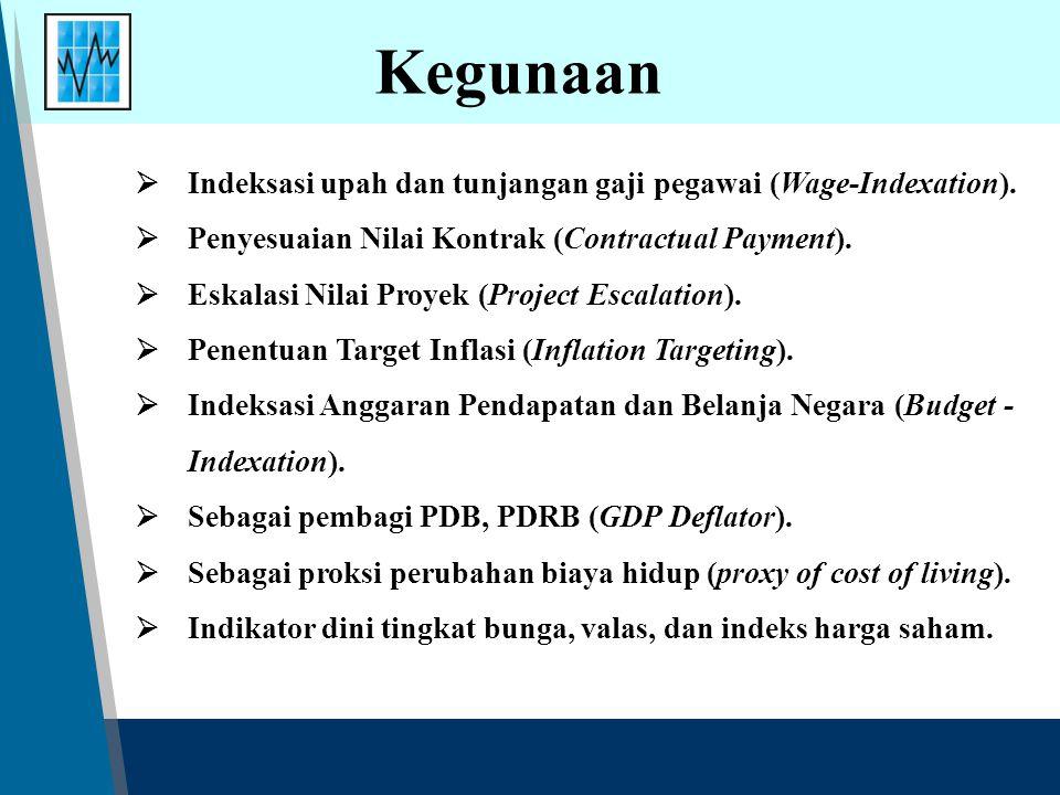 Kegunaan  Indeksasi upah dan tunjangan gaji pegawai (Wage-Indexation).  Penyesuaian Nilai Kontrak (Contractual Payment).  Eskalasi Nilai Proyek (Pr