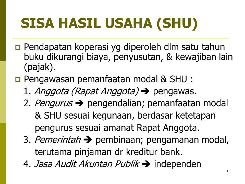 10 SISA HASIL USAHA (SHU)  Pendapatan koperasi yg diperoleh dlm satu tahun buku dikurangi biaya, penyusutan, & kewajiban lain (pajak).  Pengawasan p