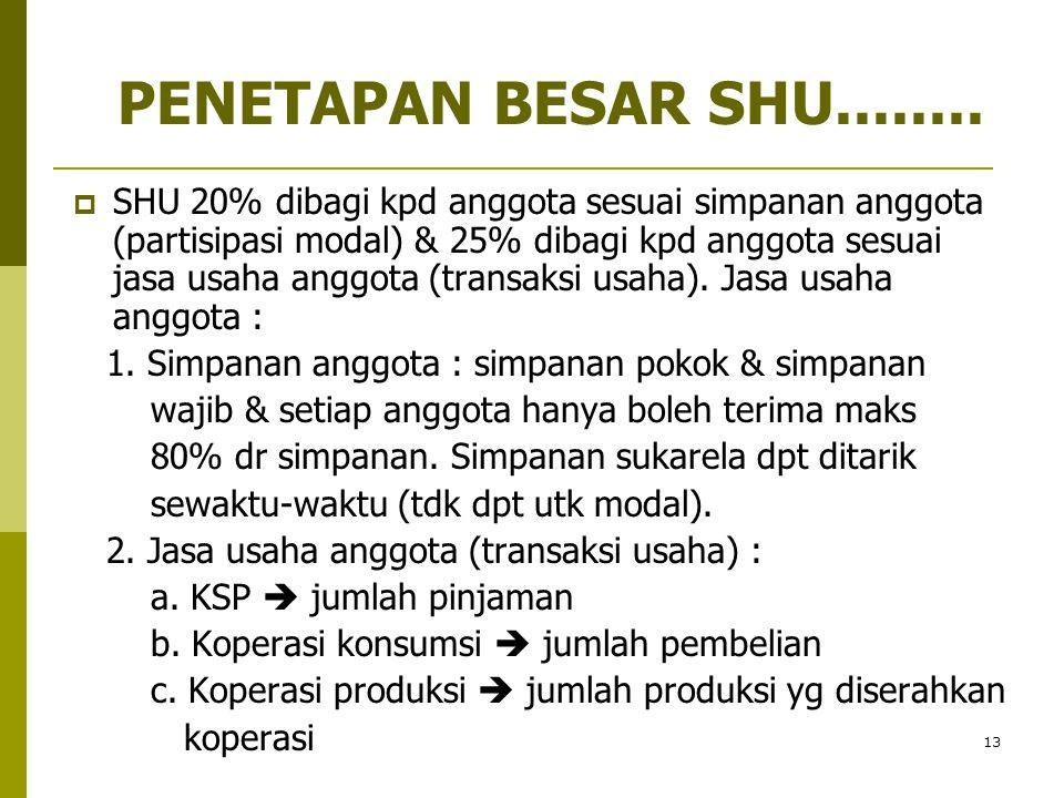 13  SHU 20% dibagi kpd anggota sesuai simpanan anggota (partisipasi modal) & 25% dibagi kpd anggota sesuai jasa usaha anggota (transaksi usaha). Jasa