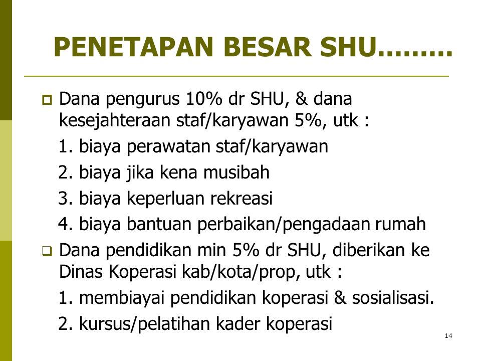 14  Dana pengurus 10% dr SHU, & dana kesejahteraan staf/karyawan 5%, utk : 1. biaya perawatan staf/karyawan 2. biaya jika kena musibah 3. biaya keper