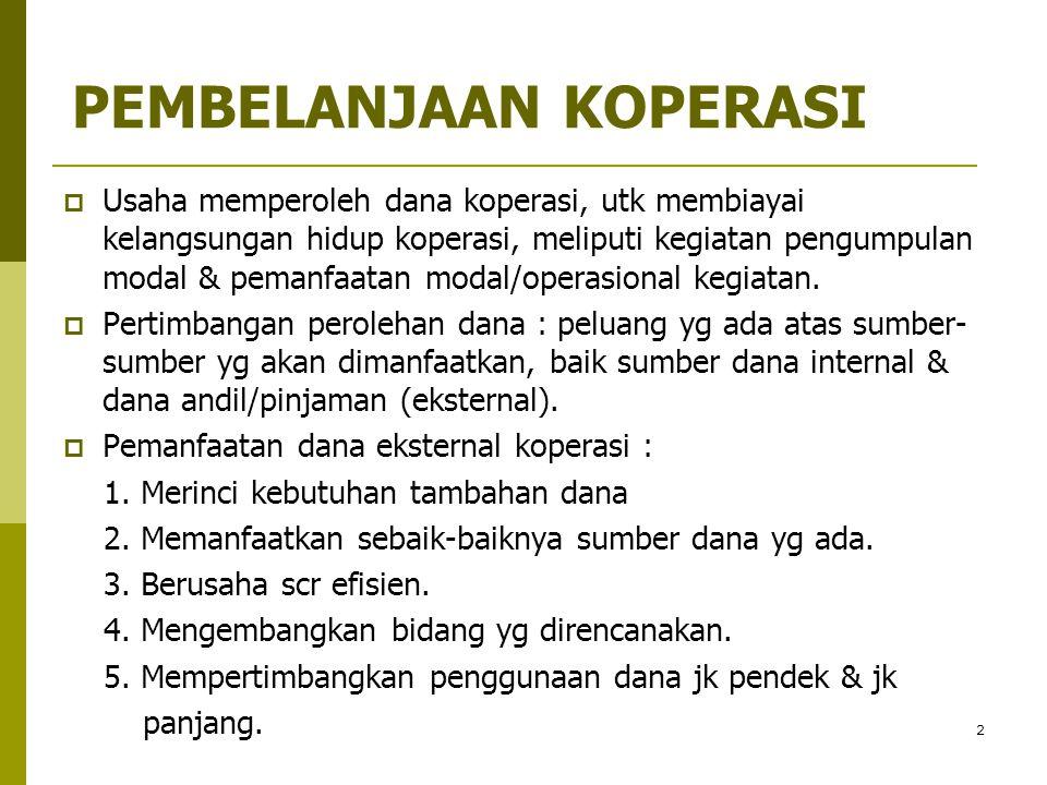 3 SUMBER DANA KOPERASI  MODAL DR DALAM KOPERASI (INTERNAL SOURCES) : 1.