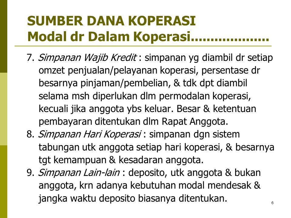 7  MODAL DR LUAR KOPERASI (EKSTERNAL SOURCES) : 1.
