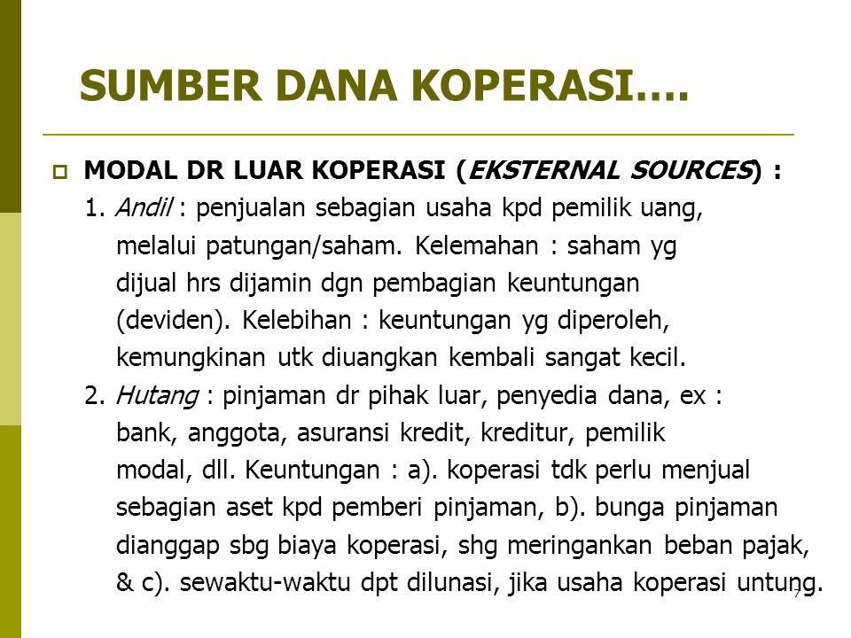 7  MODAL DR LUAR KOPERASI (EKSTERNAL SOURCES) : 1. Andil : penjualan sebagian usaha kpd pemilik uang, melalui patungan/saham. Kelemahan : saham yg di