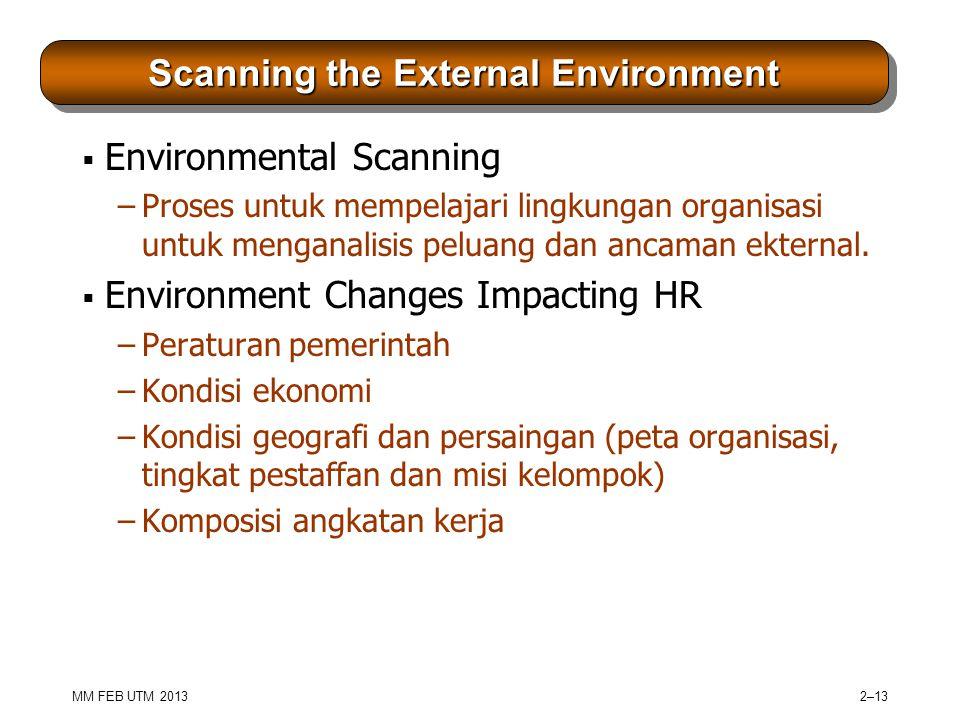 MM FEB UTM 2013 2–13 Scanning the External Environment  Environmental Scanning –Proses untuk mempelajari lingkungan organisasi untuk menganalisis peluang dan ancaman ekternal.