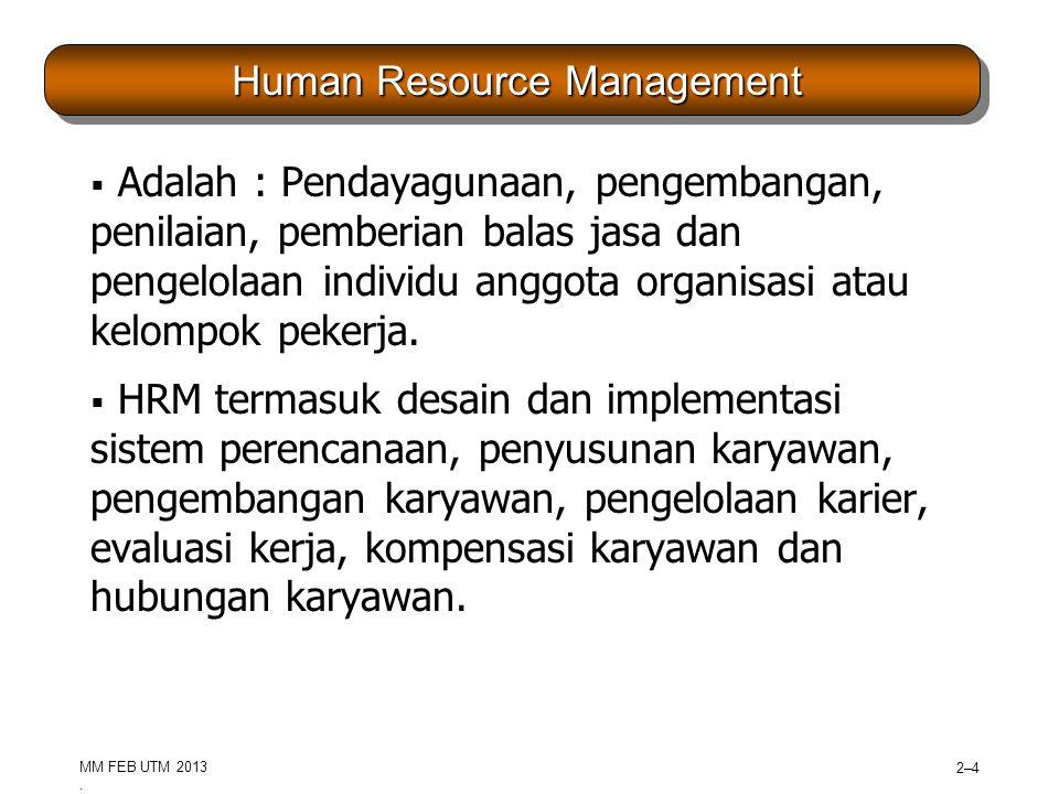 MM FEB UTM 2013 2–52–5 Human Resources as a Core Competency  Strategic Human Resources Management –Strategi organisasi SDM untuk memenangkan atau mempertahakan keunggulan kompetitif terhadap lawannya (kompeteter).