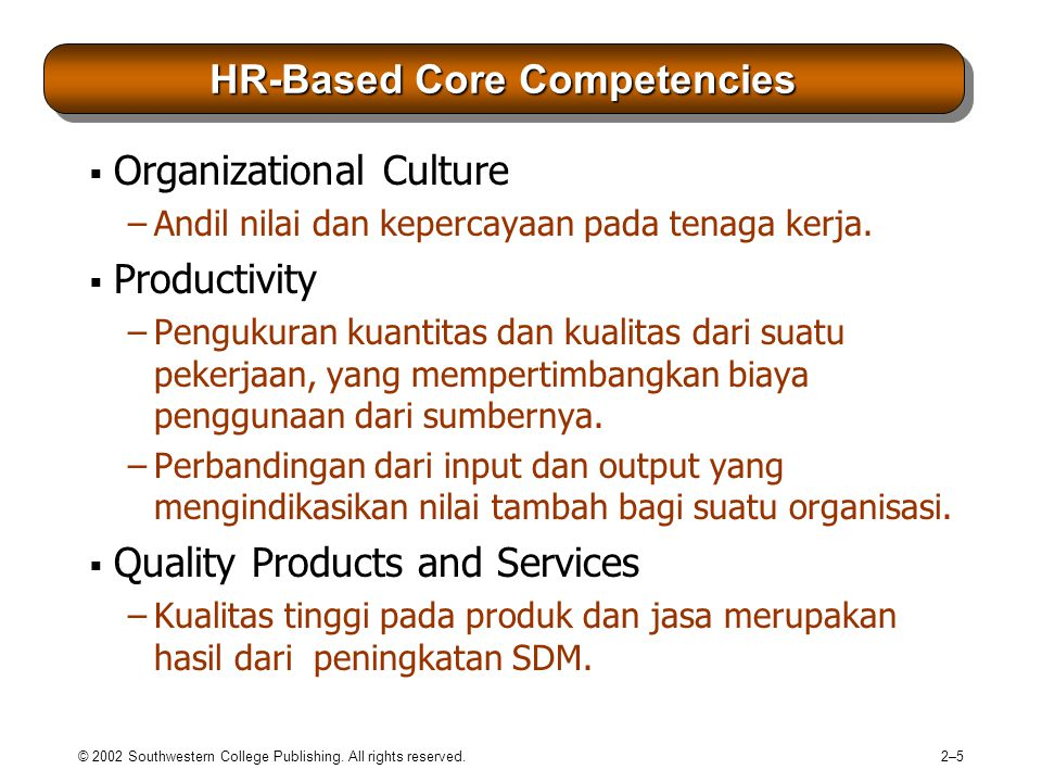 © 2002 Southwestern College Publishing. All rights reserved. 2–52–5 HR-Based Core Competencies  Organizational Culture –Andil nilai dan kepercayaan p
