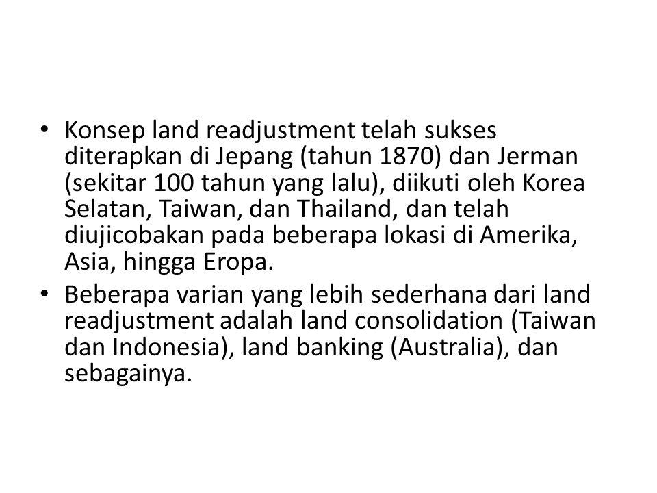 Konsep land readjustment telah sukses diterapkan di Jepang (tahun 1870) dan Jerman (sekitar 100 tahun yang lalu), diikuti oleh Korea Selatan, Taiwan,