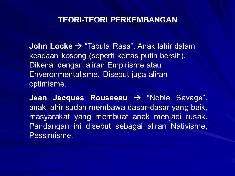 """TEORI-TEORI PERKEMBANGAN John Locke  """"Tabula Rasa"""". Anak lahir dalam keadaan kosong (seperti kertas putih bersih). Dikenal dengan aliran Empirisme at"""
