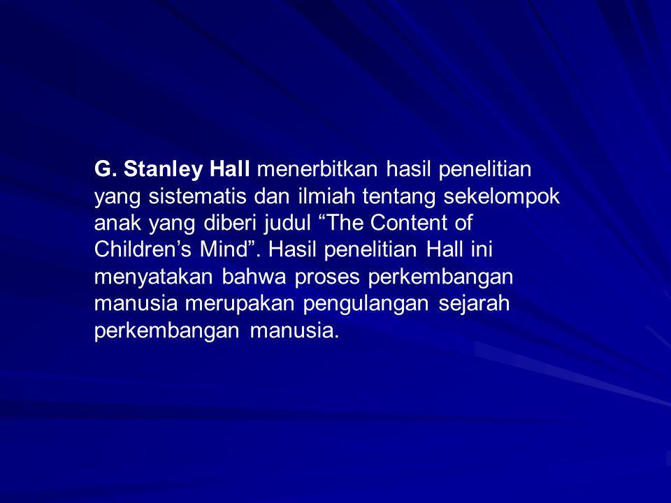 """G. Stanley Hall menerbitkan hasil penelitian yang sistematis dan ilmiah tentang sekelompok anak yang diberi judul """"The Content of Children's Mind"""". Ha"""