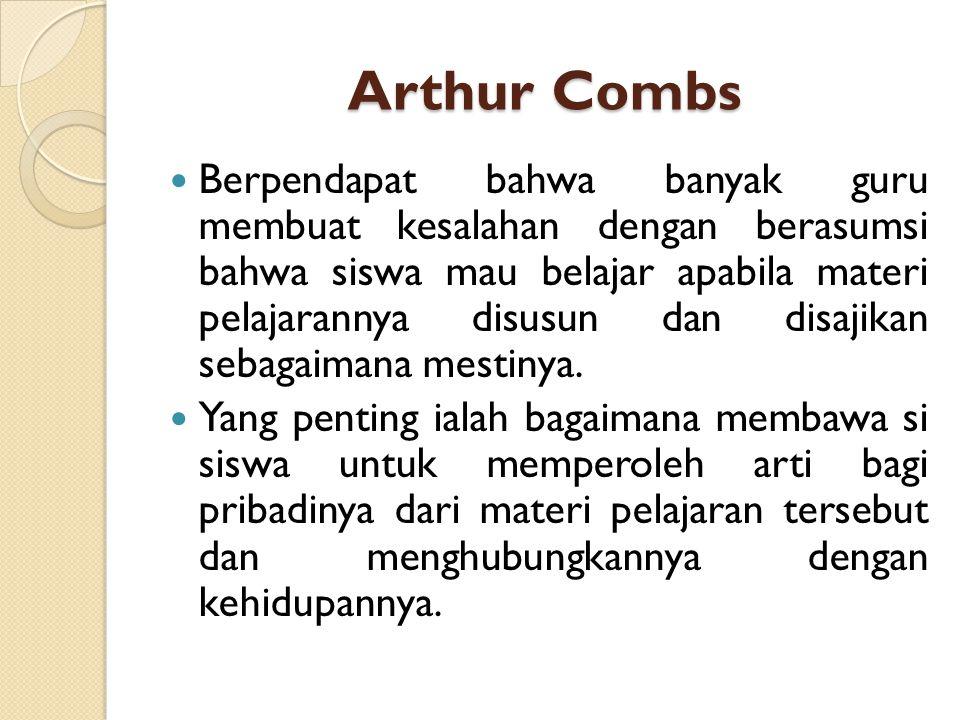 Arthur Combs Berpendapat bahwa banyak guru membuat kesalahan dengan berasumsi bahwa siswa mau belajar apabila materi pelajarannya disusun dan disajika