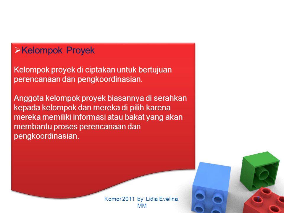  Kelompok Proyek Kelompok proyek di ciptakan untuk bertujuan perencanaan dan pengkoordinasian. Anggota kelompok proyek biasannya di serahkan kepada k