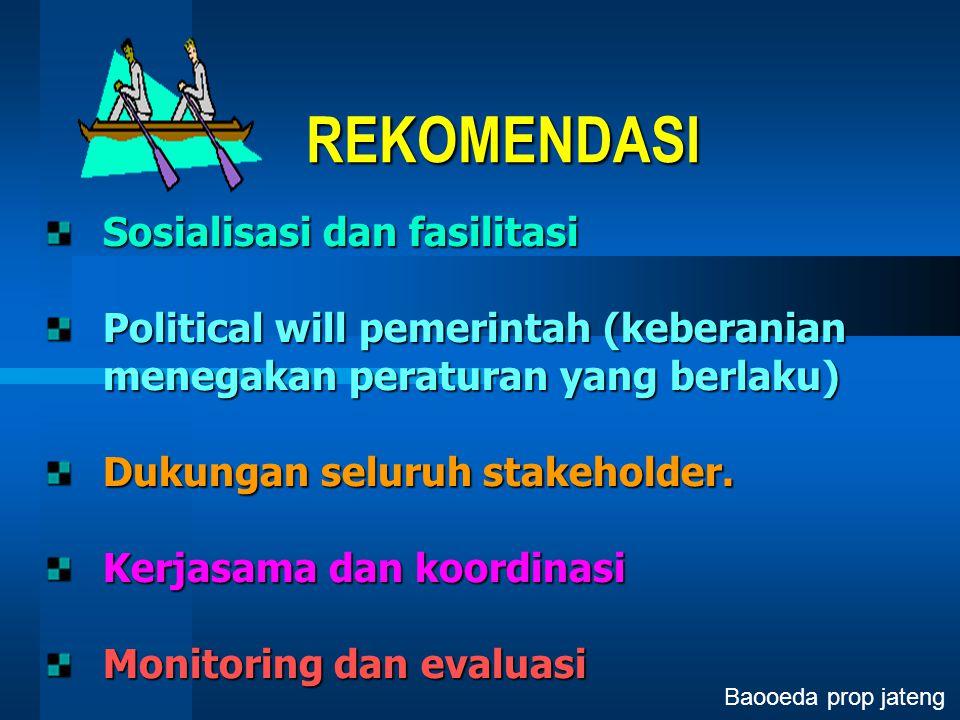 REKOMENDASI Sosialisasi dan fasilitasi Political will pemerintah (keberanian menegakan peraturan yang berlaku) Dukungan seluruh stakeholder. Kerjasama
