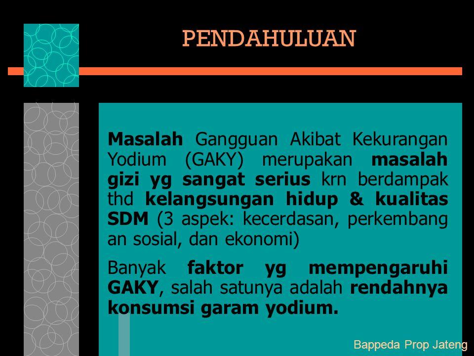 Masalah Gangguan Akibat Kekurangan Yodium (GAKY) merupakan masalah gizi yg sangat serius krn berdampak thd kelangsungan hidup & kualitas SDM (3 aspek: