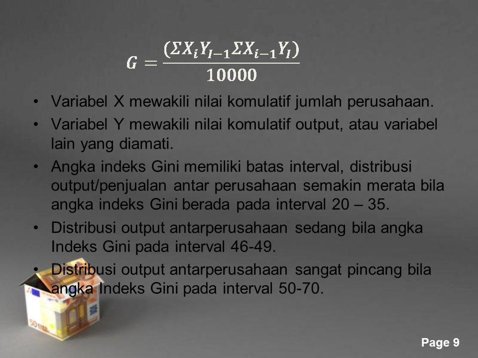 Powerpoint Templates Page 9 Variabel X mewakili nilai komulatif jumlah perusahaan. Variabel Y mewakili nilai komulatif output, atau variabel lain yang