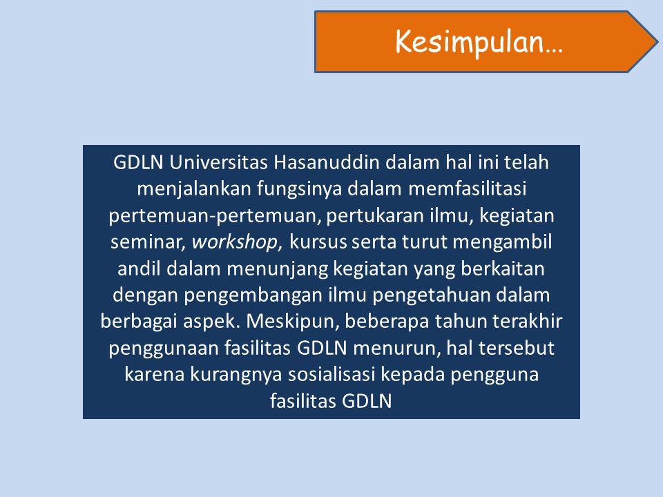 GDLN Universitas Hasanuddin dalam hal ini telah menjalankan fungsinya dalam memfasilitasi pertemuan-pertemuan, pertukaran ilmu, kegiatan seminar, workshop, kursus serta turut mengambil andil dalam menunjang kegiatan yang berkaitan dengan pengembangan ilmu pengetahuan dalam berbagai aspek.